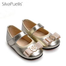 SilvaPuellis 2017 New Girls Bling Beautiful Boat Shoes Children Cowhide Hook And Loop Rubber Shoes Little Girl Dress Shoes