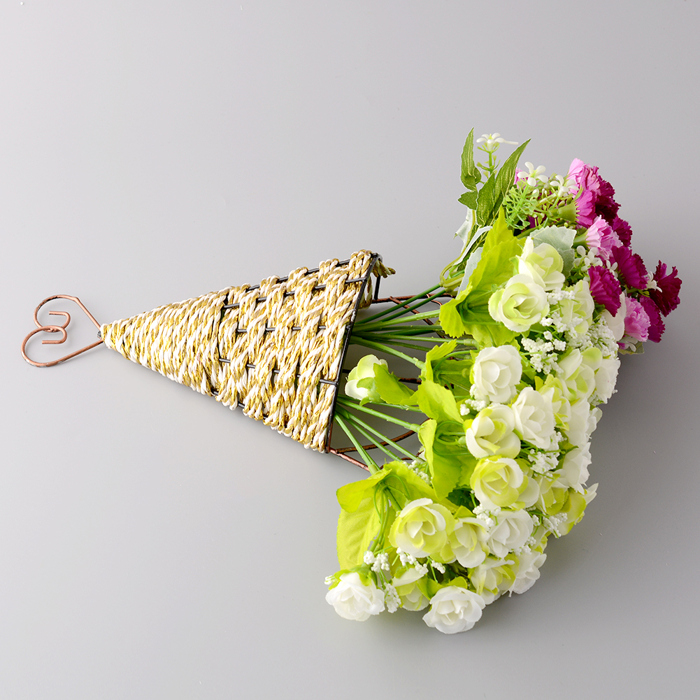 New Handmade Sector Wall Hanging Basket Craft Fake Flower Vase ...