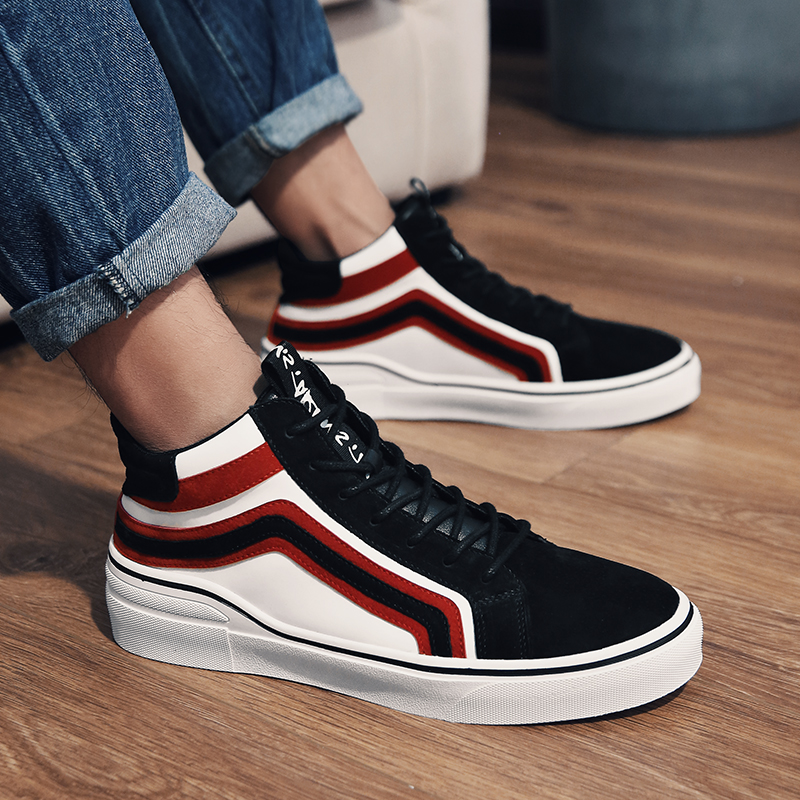 2018 New Arrival Spring autumn Casual Canvas Mens Shoes High Heel Breathable Sneakers Shoes Man Color Black White Size 39 44 N2 in Men 39 s Casual Shoes from Shoes