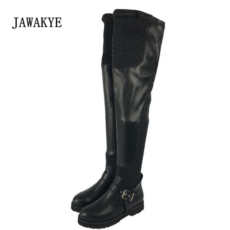 2017 Stretch Leather Over The Knee Boots Woman Round Toe Mesh Buckle Patchwork Flat Long Boots