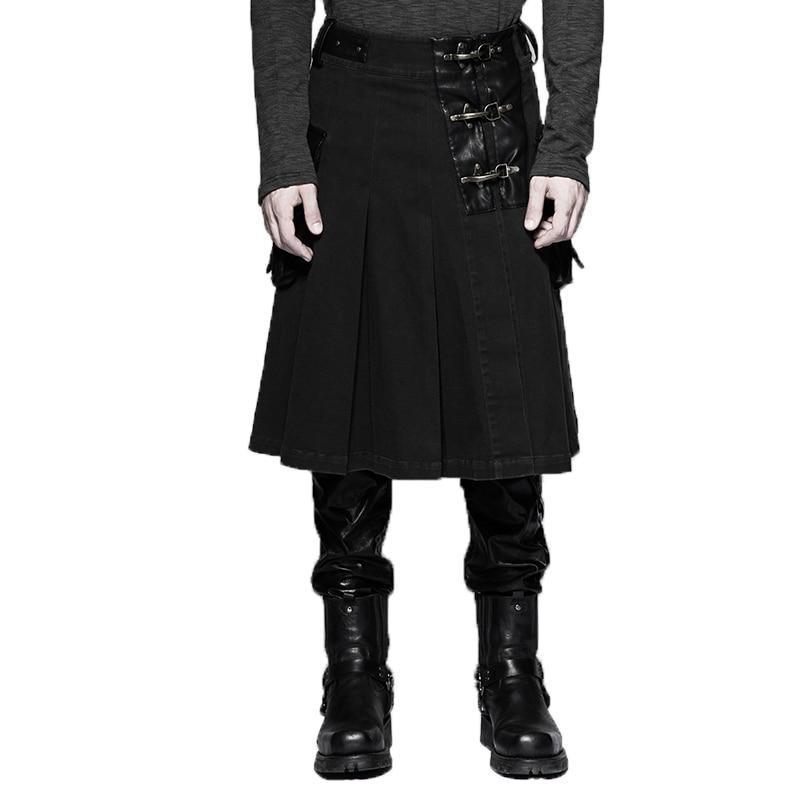 Мужская юбка средней длины в стиле панк, из искусственной кожи, с кожаным ремнем