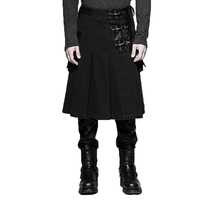 Punk PU Washed Men Half Skirt Leather Belt Black Casual Skirt with Poacket Gothic Cotton Middle Skirts