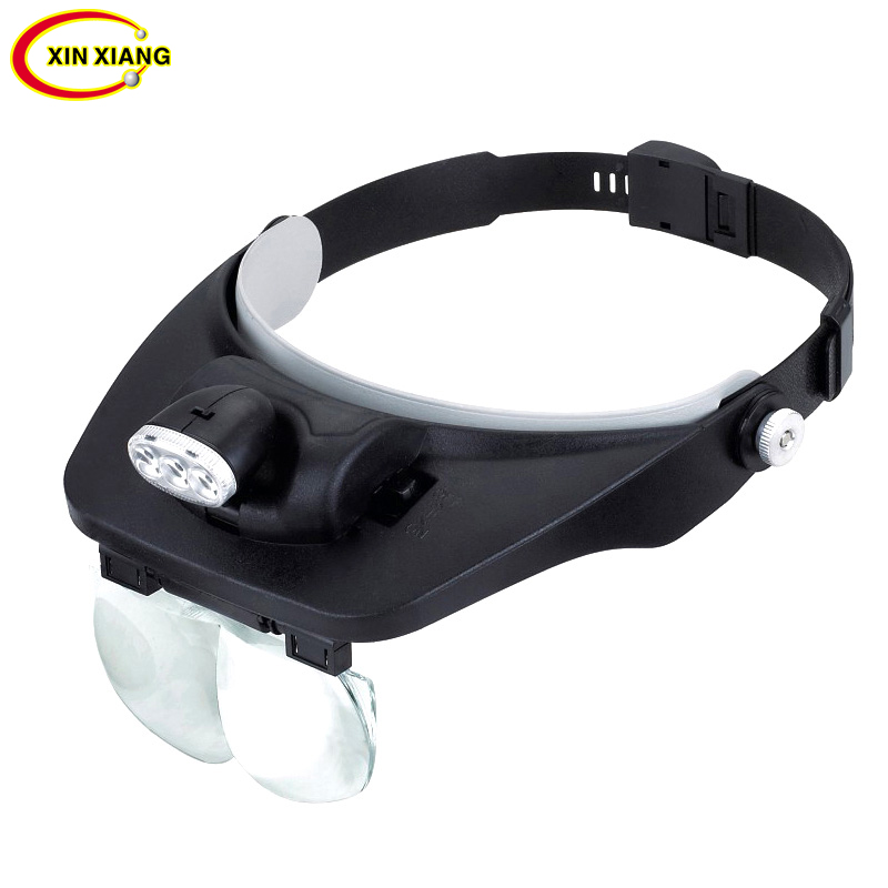 Head Wearing 3 LED Magnifier Lamp 1.2X 1.8X 2.5X 3.5X Magnifier With Illumination Reading Magnifying Glass Optical Jewelry Loupe