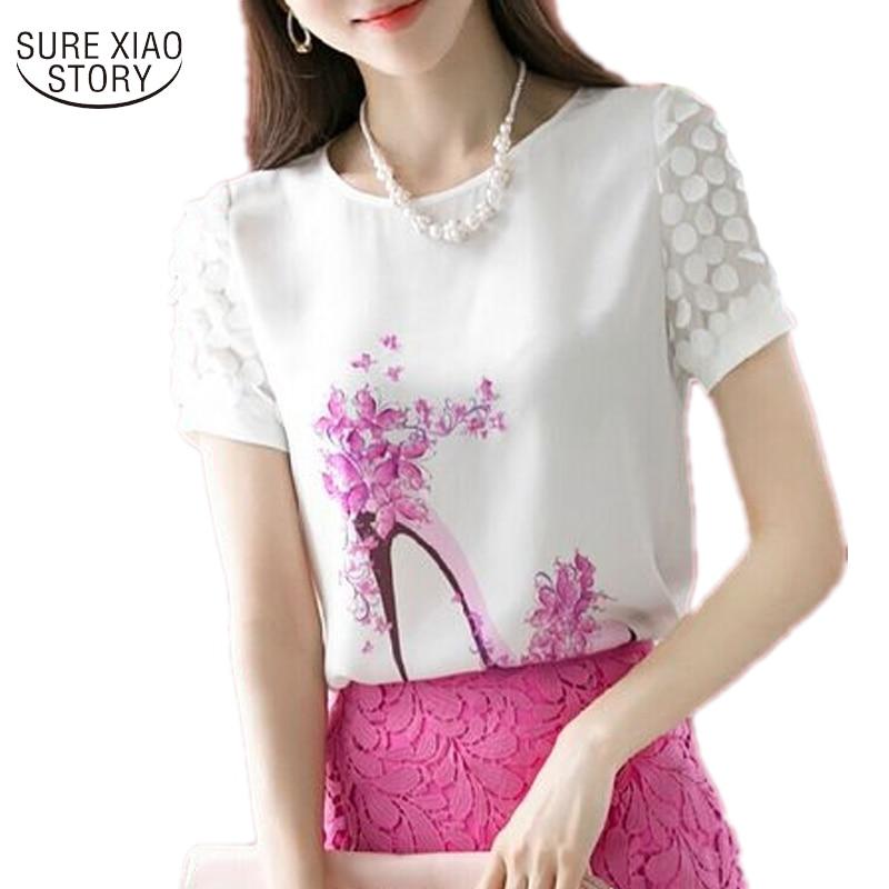 2019 new spring summer  Women Fashion print Short Sleeve Diamonds Blouses Shirts  plus size Casual Chiffon Flower Blusas 89J 28