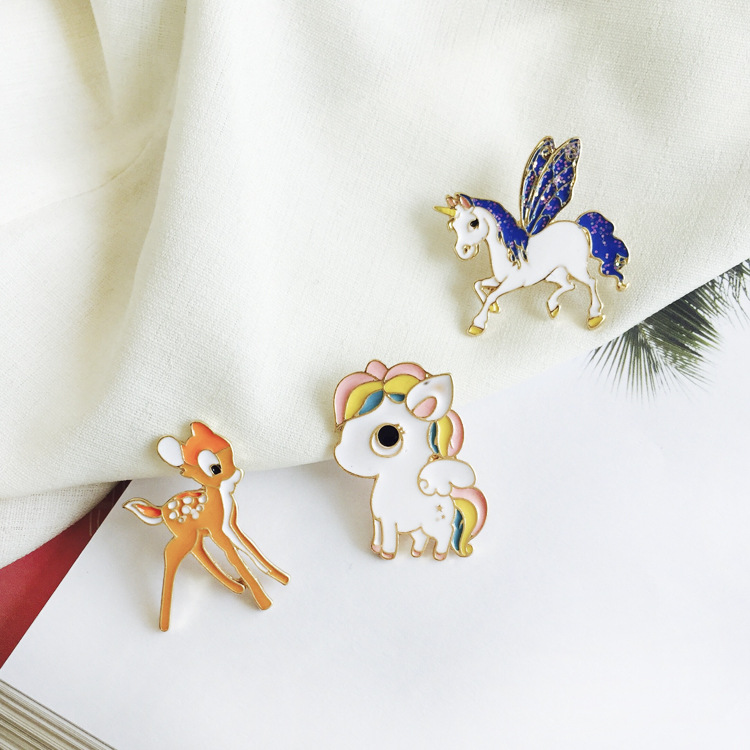 Apparel Sewing & Fabric Animal Beautiful Bird Unicorn Metal Brooch Button Pins Denim Jacket Pin Jewelry Decoration Badge For Clothes Lapel Pins Large Assortment Badges