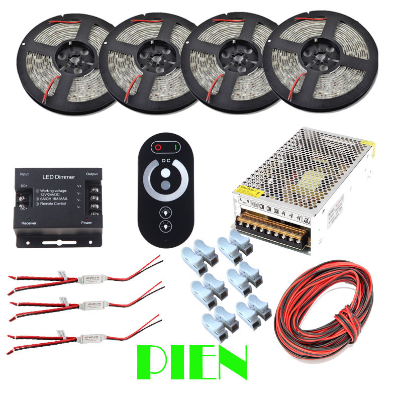 20M Dimmable led strip Kit 5050 5630 2835 Waterproof Warm white + RF Touch dimmer + Power supply + Amplifier Free shipping