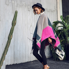 Womens Shawl Coat Luxury Brand Square Striped Style Thicken Warm Cashmere Knitted Scarves Winter Soft Lady Wrap Poncho