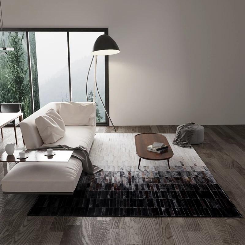 Natural Cow Skin Hide Fur Carpet For Living Room Luxury Cowhide Seamed Striped Rug Big Size Decoration Office Carpet
