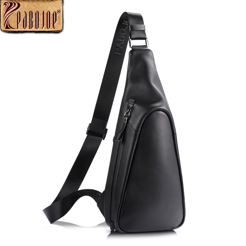 Pabojoe Chest Crossbody Bag Men Genuine Leather  Mens Shoulder Crossbody Bag Men Casual Bag new kinco k504 14dr plc cpu dc21 6 28 8v power supply 8di 6do relay