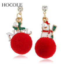 Lovely Rhinestone Asymmetry Letter Snowman Fluffy Pompom Ball Drop Earrings For Women Christmas Statement Party Jewelry Bijoux pair of chic snowman christmas earrings jewelry for women