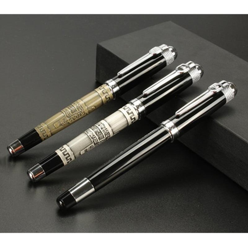 Jinhao Rollerball Pen 0 7mm black refill 189 Gold Office Students ballpoint pen Metal ball pen
