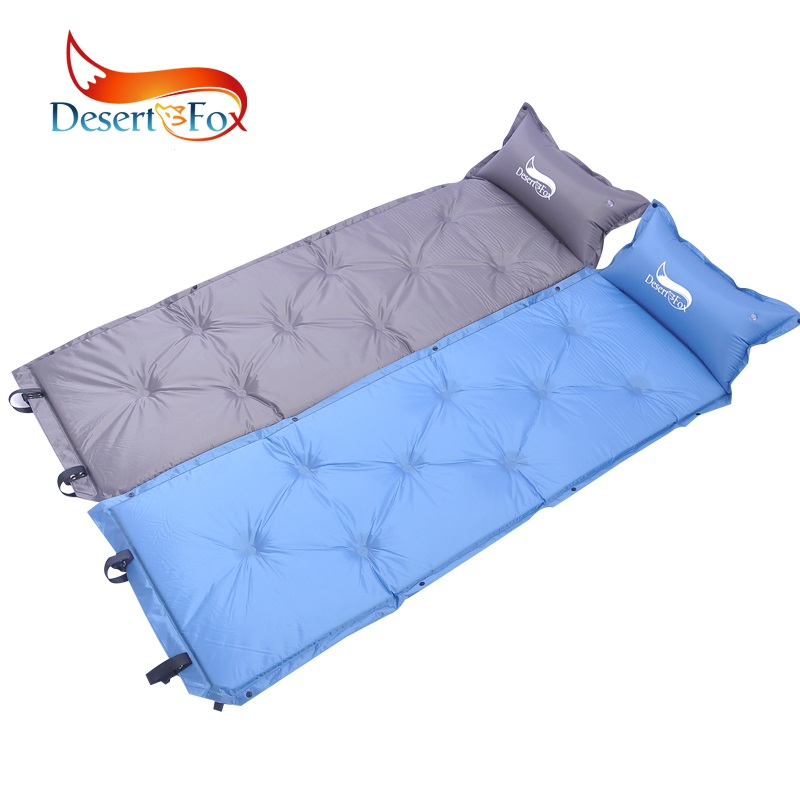 Desert Fox 1pc Self Inflating Sleeping Pads with Inflatable Pillow Comfortable Tent Air Mattress Backpacking for