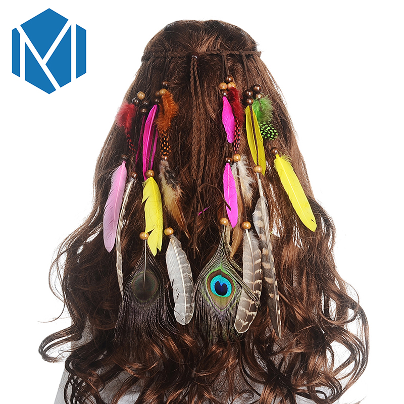 Girls Fashion Colorful Feather Headband 2017 New Festival Hippie Hair Band Accessories for Women Boho Styling Peacock Headdress gorgeous faux feather elastic hair band for women