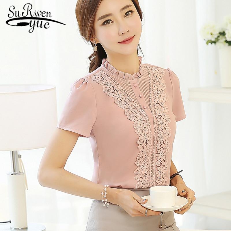 2019 Fashion Sweet Women's Clothing Short Sleeve Pink Chiffon Women Shirts Blouses Sweet Ruffled Neck Women's Tops Blusas 37F 30