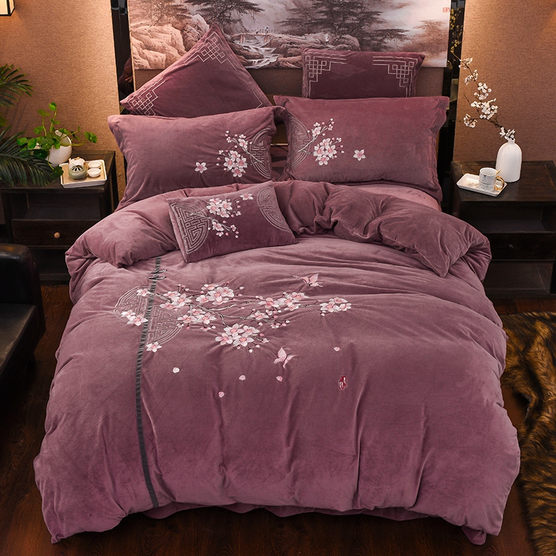 Luxury Chinese style Classical Flowers Embroidery Winter Thick Velvet Flannel Bedding Set Duvet Cover Bed Linen/sheet Pillowcase