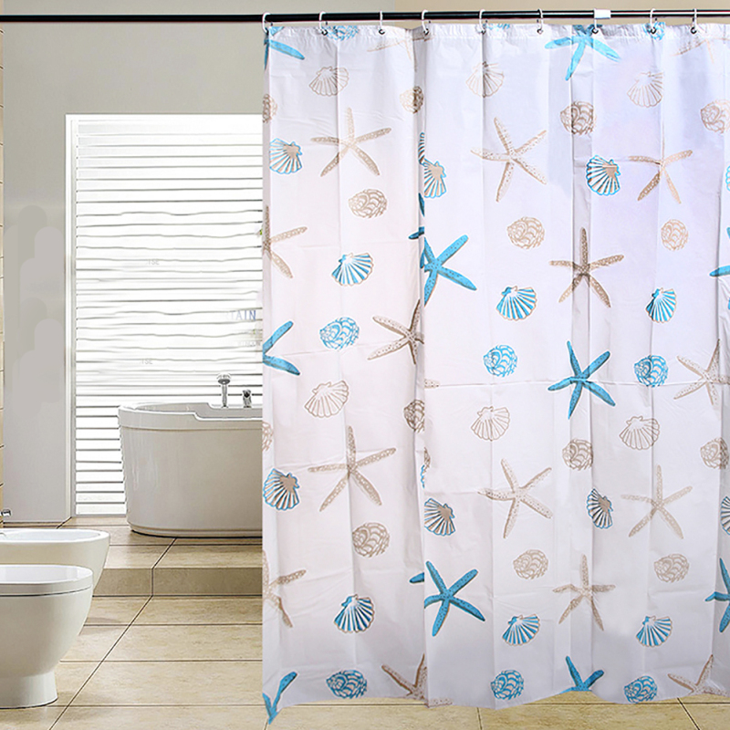 1PC Shell Starfish Waterproof Shower Curtain Bathroom Curtain With Hooks High Quality Fabric Shower Curtain Home decors 3
