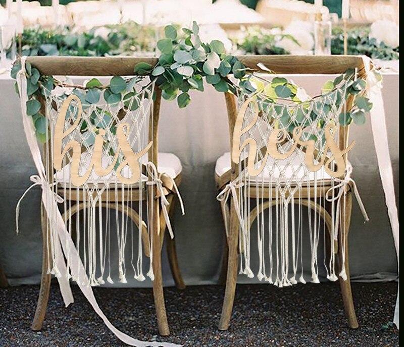 Деревянные буквы его и ее свадьба стул знак реквизит для фотосессии для деревенская Свадебные украшения Обручение Юбилей вечеринок