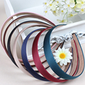6PCS/1Lot 20mm Solid Color Satin Covered Resin Hairbands Ribbon Covered Casual Womens Kids Cute Headbands Headband Free Shipping