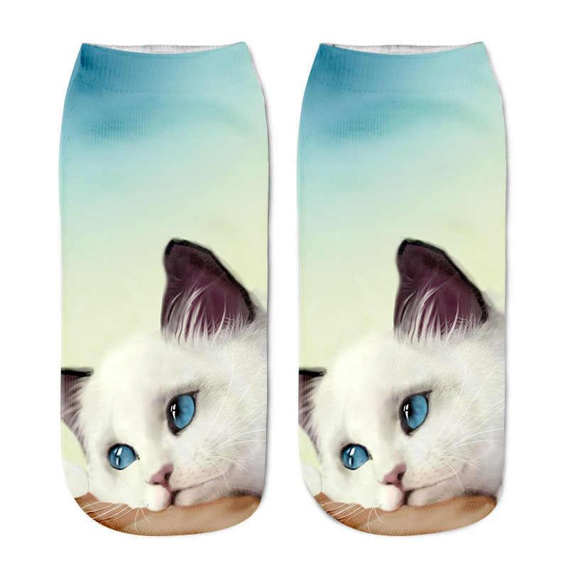 คุณภาพสูงถุงเท้าน่ารักการ์ตูนฤดูใบไม้ร่วงฤดูหนาวสบายผ้าฝ้ายถุงเท้าอบอุ่นสำหรับแมว 3D พิมพ์ตลกต่ำข้อเท้า Meias e12
