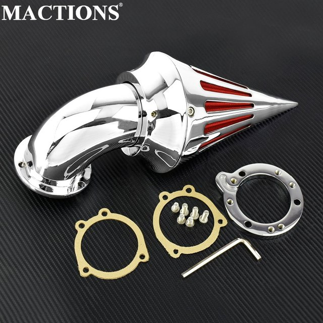 US $80 4 9% OFF|Motorcycle Accessories Billet Aluminum Spike Air Cleaner  Intake Filter Kit Chrome For Harley CV Carb Delphi V Twin-in Air Filters &