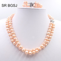 Free Shipping 8 9mm 2 Rows Natural Pearl Necklace Bracelet GF Box Tab Clasp Lady Jewelry Set