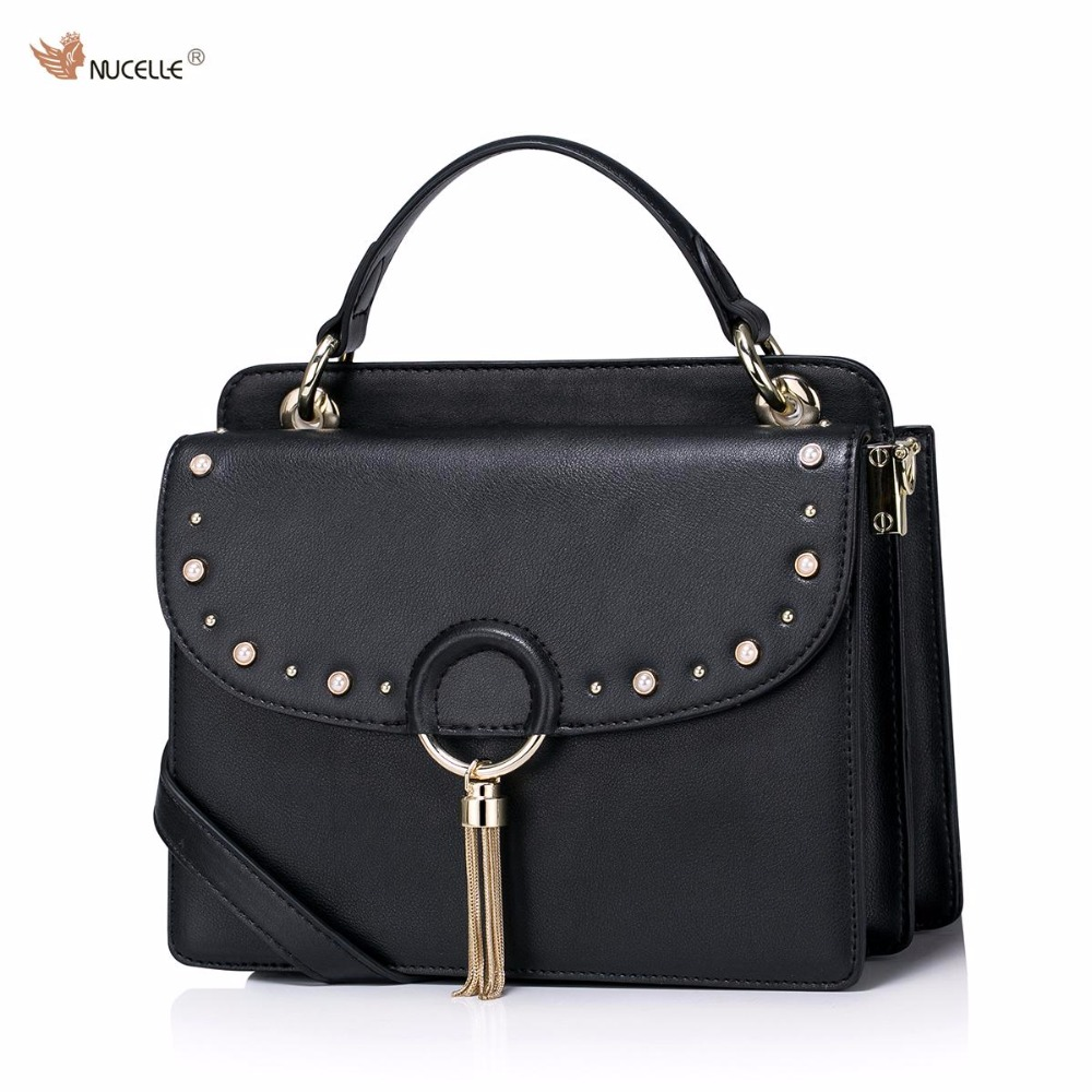 NUCELLE Brand Design Fashion Pearls Rivets Cow Leather Ladies Feminine Handbag With Tassels Shoulder Crossbody Bags For Women nucelle brand design vintage luxury leopard with horse coat cow leather women ladies handbag shoulder crossbody flap bags