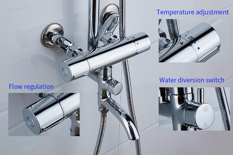 Shower Faucets Brass Chrome Thermostatic Bathroom Wall Bathtub ...
