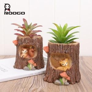 Image 1 - Roogo עץ צורת תליית עציץ מרפסת עציץ תלוי של חיות עסיסי Creative Cachepot עבור פרחים