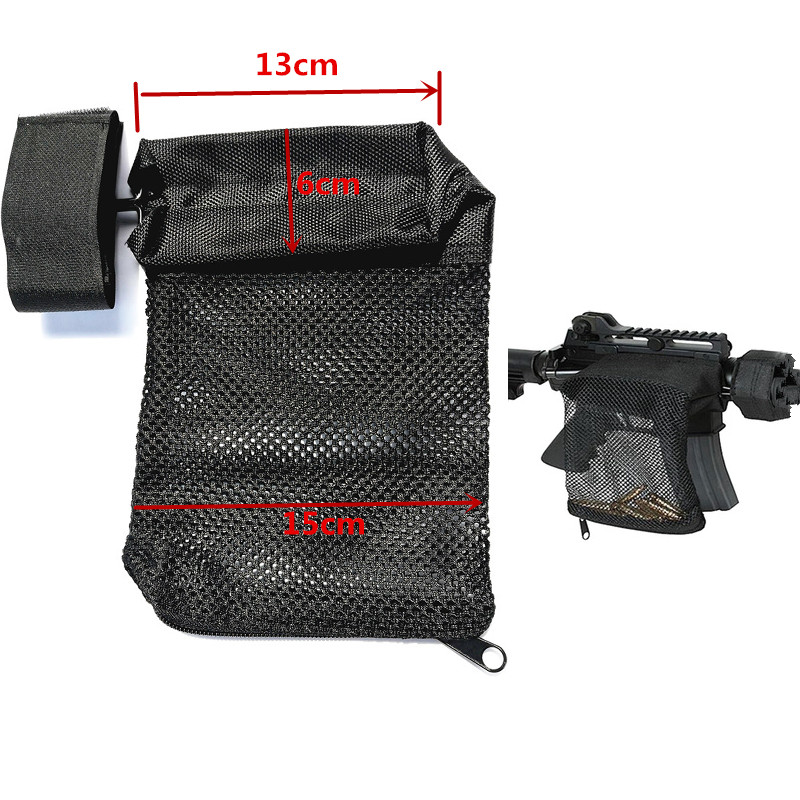 Hunting Accessories Tactical Nylon AR-15 Ammo Brass Shell Catcher Mesh Trap Zippered Closure Bag Black. 223 / 5.56 ...