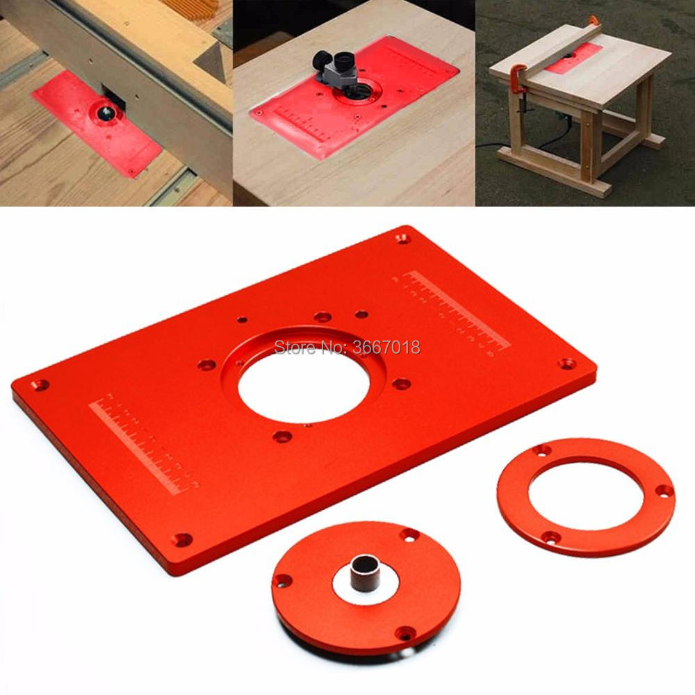 4Pcs/Set Aluminum Router Table Insert Plate 200x300x10mm With Cover For Woodworking Engraving Machine