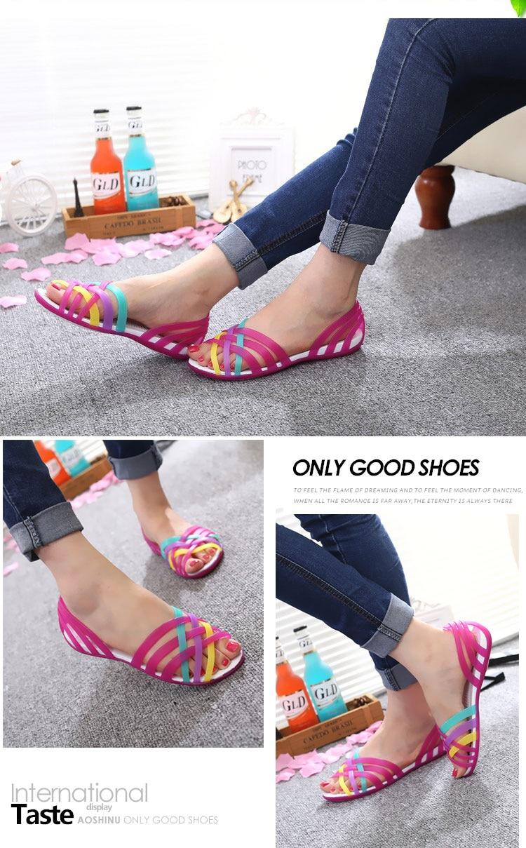 HTB1h1YuavjsK1Rjy1Xaq6zispXa7 Women Sandals Jelly Shoes Peep Toe Summer Beach Shoes Zapatos De Mujer Ladies Slides Candy Rainbow Flats Sandalias Mujer 2019