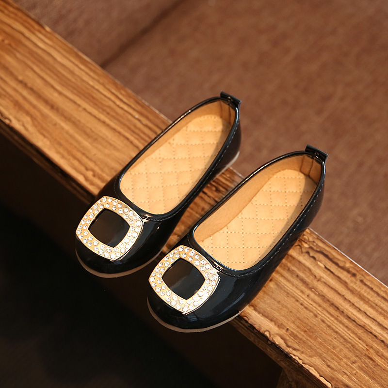 New Spring Girls Dance Shoes PU Leather for Baby Flats Children Patent Shoes Rinestone for Kid Fashion Party Princess Shoes