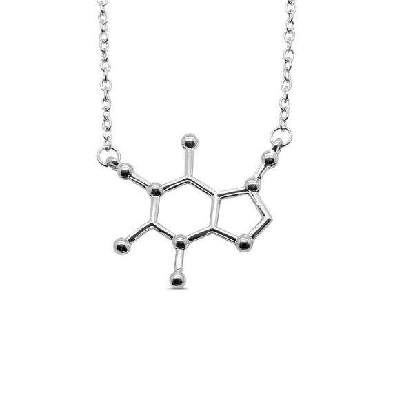 Caffeine Molecule Necklace 925 Sterling Silver Engraved Pendant Coffee Science