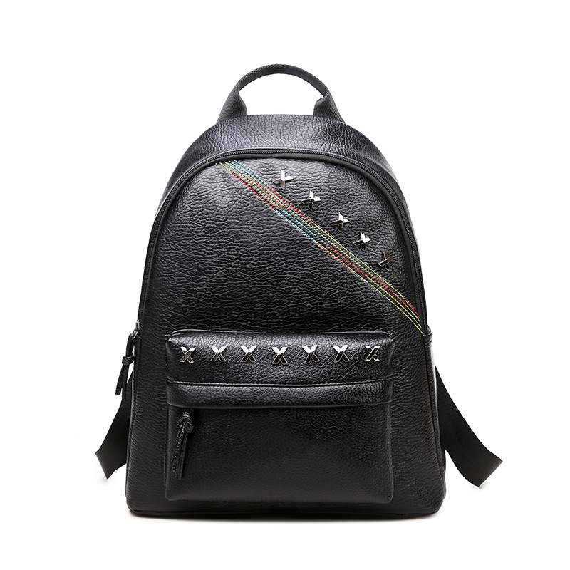 Women Backpack Black PU Leather Women Backpack Fashion School Bag For Girls Preppy Style Female Back