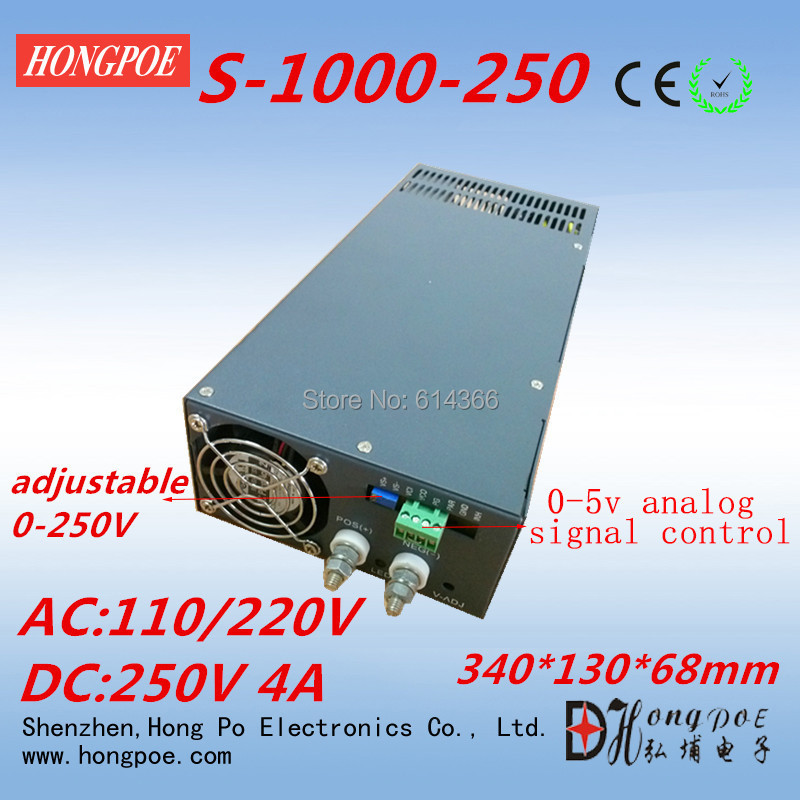 цена на 1PCS 1000W 250VDC AC110 or 230V 0-250v power supply 250V 4A 1000W 250V adjustable 0-5V analog signal control