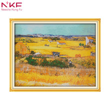 A good harvest of wheat landscape DIY embroidery chinese cross stitch kits patterns printed canvas needlework sets home decor
