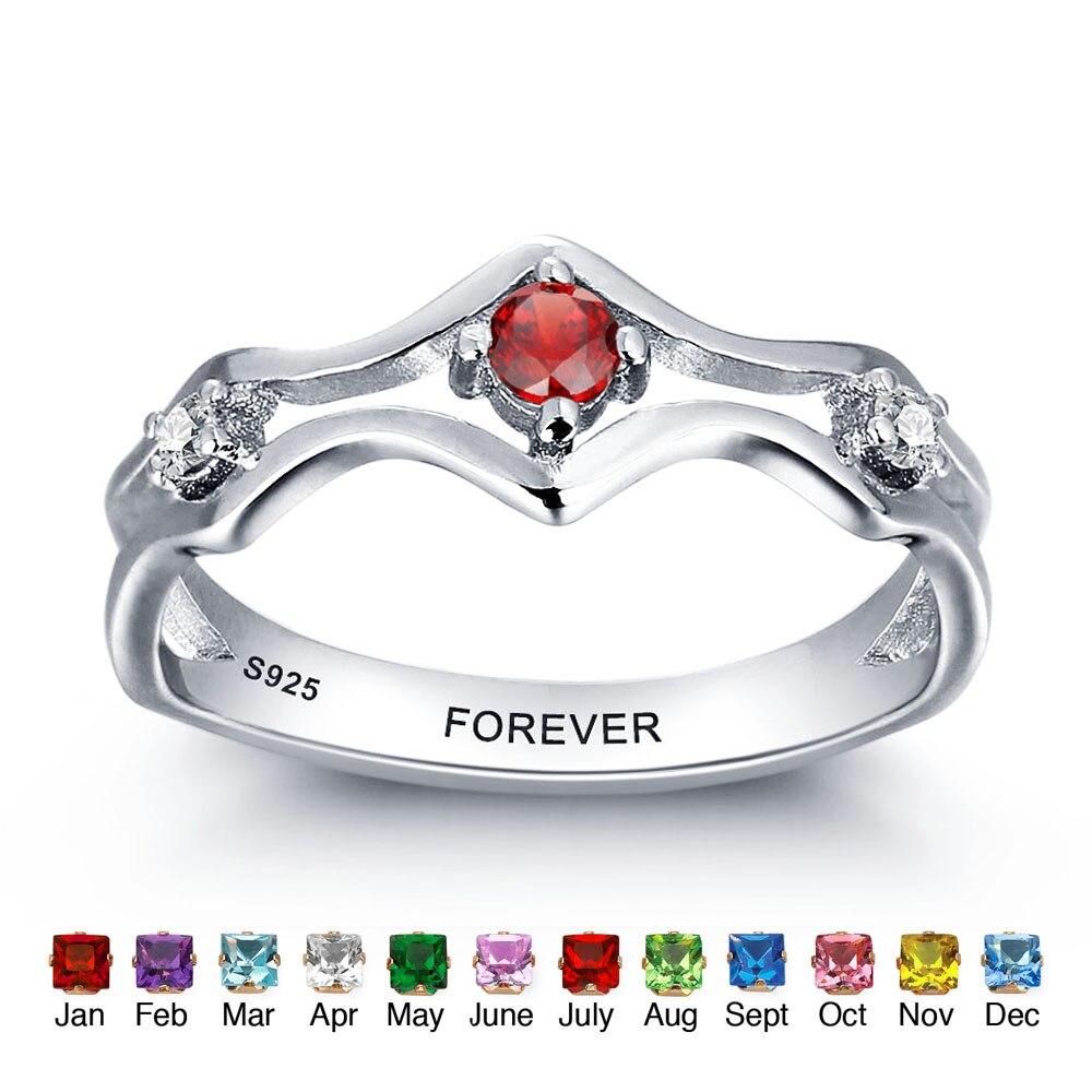 Персонализированные 925 стерлингового серебра камень выгравированы обещание кольцо пары Обручальные кольца любителей Кольца для Для женщи...