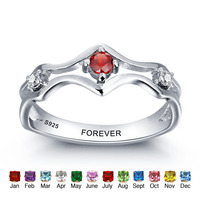 Personalized 925 Sterling Silver Birthstone Engraved Promise Ring Couples Wedding Bands Lovers Rings For Women