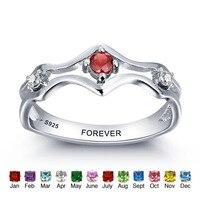 Personalizado 925 Sterling Silver Birthstone Gravado Promessa Amantes Casais Anel Faixas De Casamento Anéis Para As Mulheres