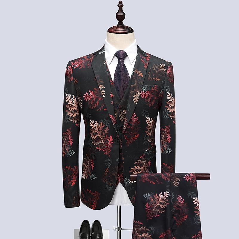 Robe Hamilton Pantalon Broderie Gilet Motifs Impression 2 De 1 Ensemble 3 Costume veste Gilet design Design Pièces Mascarade Hommes Floral 8qRZdZw