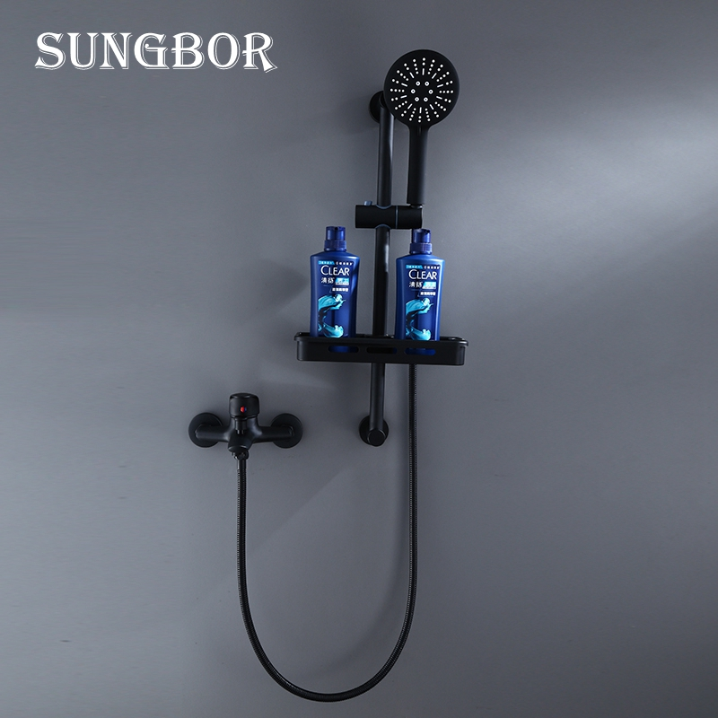 Black Shower Faucet Mixer Set With Bathroom Commodity Rack Brass Bathtub Faucet Mixer Bath Bathroom Sink