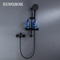 Black Shower Faucet Mixer Set With Bathroom Commodity Rack Brass Bathtub Faucet Mixer Bath Bathroom Sink Shower Faucets Tap 2031