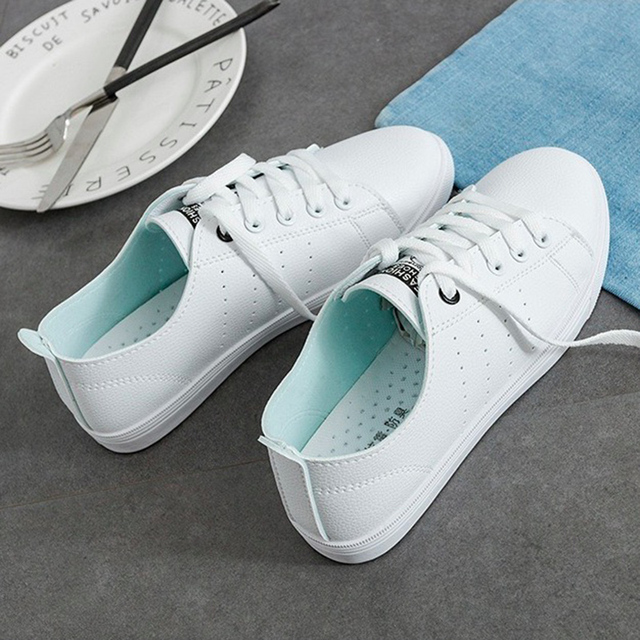 WAWFROK Women Casual Shoes Summer 2018 Spring Women Flats Shoes Fashion Breathable Vulcanization Lace-Up Women Sneakers