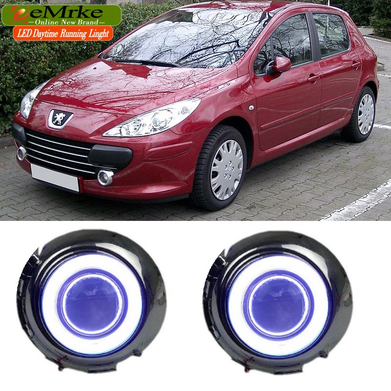 eeMrke For Peugeot 307 307CC LED Angel Eye Fog Light DRL Halogen H11 55W Daytime Running Lights eemrke led angel eyes drl for suzuki aerio liana 2005 2006 2007 fog lights daytime running lights h3 55w halogen cut line lens
