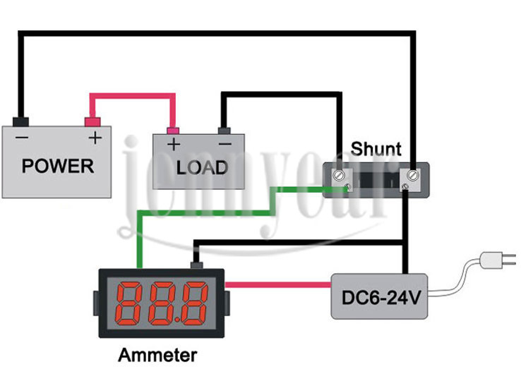 ultra small dc 0 50a digital ammeter 0 36 red led current meter rh aliexpress com Ammeter Gauge Wiring Diagram digital dc ammeter circuit diagram