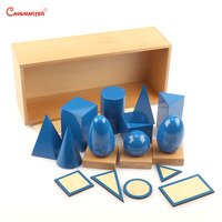 Математика Монтессори геометрические твердые вещества с коробкой Деревянный Пляж для детей мозговой Прорезыватель игрушки игры образоват