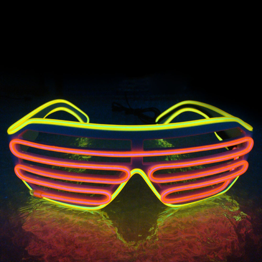 Умный светодиодный пульт дистанционного управления, стекло es, стекло EL Wire, модный неоновый светодиодный светильник в форме затвора, стекло es Rave DJ, яркие вечерние костюмы - Цвет: yellow red