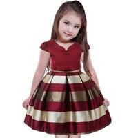 2018 أنيق الاطفال الفتيات الفساتين شريطية ملابس الأميرة توتو فستان الزفاف مهرجان حزب اللباس الفتيات ملابس 2-10 سنة