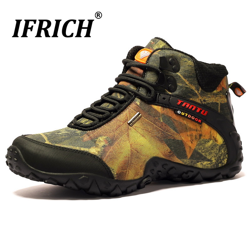 High Top Mountain Hiking Shoes Man Climb Leather Trekking Sneakers Plus Size Military Tactical Boot Waterproof Sports AthleticsHigh Top Mountain Hiking Shoes Man Climb Leather Trekking Sneakers Plus Size Military Tactical Boot Waterproof Sports Athletics