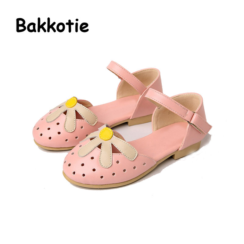Bakkotie 2017 New Fashion Summer Sweet Baby Kid Brand All-match Comfort Child Pink Cute Girl Sandals Black White Shoe Flowers